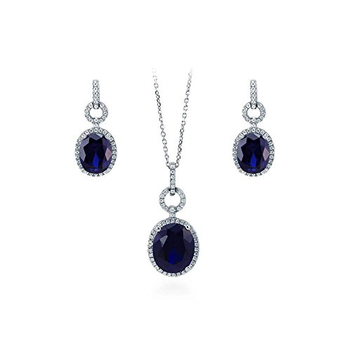 Jalash 14K White Gold Plating Oval Tanzanite & CZ Diamonds Halo Pendant & Earrings Set(Without Chain)