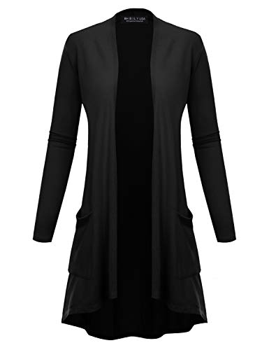 BH B.I.L.Y USA Women's New Open Front Long Sleeve Terry Rayon Cardigan Black Small