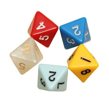 Board Game Toys   5Pcs Set Number Eight Sided Dice Board Game Dice Counter   Eight Sided Dice Translucent Number Yugioh Large Core 12 Pack 20 104 Gaming Color 4   Die
