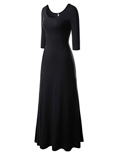 Floor Neck (NEARKIN (NKNKW5LD652) Beloved Womens Scoop Neck Slim Cut Stretchy Maxi Dress BLACK US S(Tag size M))
