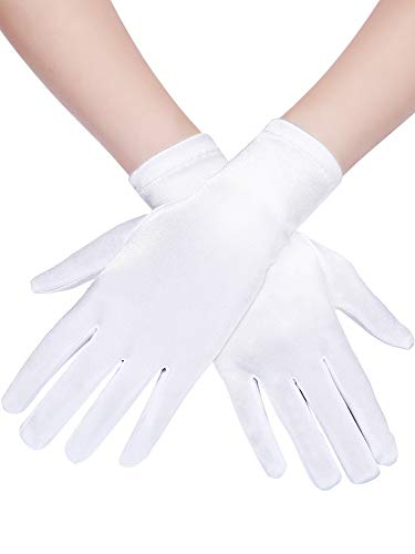 (Sumind Short Satin Gloves Wrist Length Gloves Women's Gown Gloves Opera Wedding Banquet Dress Glove for Party Dance (White, L Size))