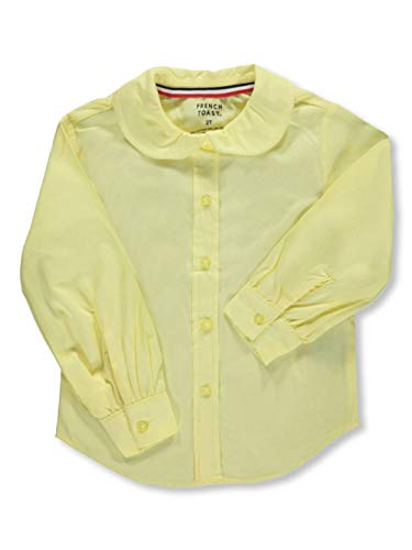 French Toast Little Girls' Toddler L/S Peter Pan Blouse - Yellow, 2t (Uniform Sleeved Shirts Girls Long)