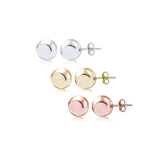 10mm Ball Stud Earrings - Hoops & Loops Sterling Silver Set of 3 Tri-Color Polished 10mm Ball Stud Earrings Set
