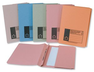 Spicers 5 Star Flat File with Pocket Recycled Manilla 315gsm 38mm Foolscap Blue [Pack 25] by Spicers