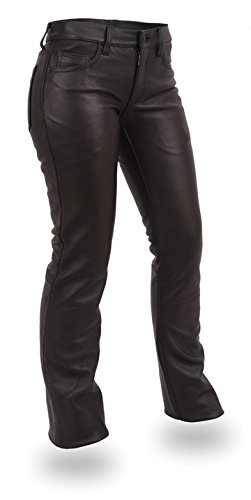 First Manufacturing Alexis Women's Leather Motorcycle Pants (Black, Size 10) ()