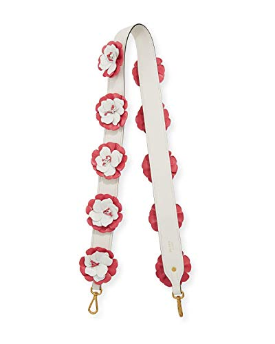 Prada White and Pink Calf Leather Flower Shoulder Strap 1TY002