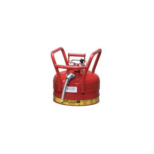 Justrite 7325120 2 1/2 Gallon Red AccuFlow Galvanized Steel Type II Vented Safety Can with Flame Arrester, 5/8 Metal Hose and Roller Bars, Plastic, 1'' x 1'' x 1''