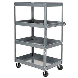 (Edsal ST8000 Stock Truck with 18 Gauge Steel Tray, Powder Coated Finish, 4 Tier Shelf, 800 lb. Capacity, 30