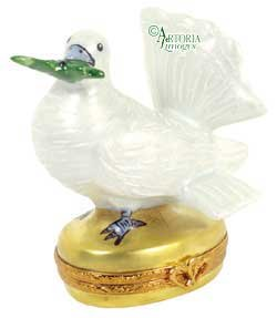 Dove With Olive Branch -(RETIRED) - Hand Painted Limoges Box.