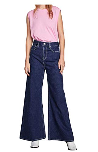 Macondoo Women Casual Wide Leg Jean Palazzo Trousers Denim Pants Denim Blue S