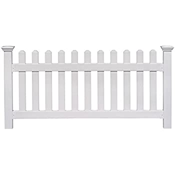 fence. Zippity Outdoor Products ZP19002 High No-Dig Newport Vinyl Permanent Picket Unassembled Yard Fence, Fence