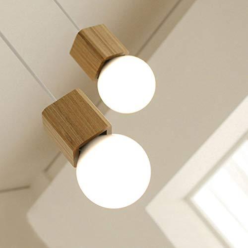 Love Environment Vintage Retro LED Pendant Light Metal&Oak Wood E27 3W Wood lamp Holder Hanging Light Fixture for Study Foyer Home AC100-240V (Study 3 Light)