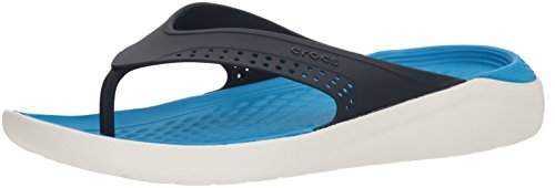 (Crocs Unisex LiteRide Flip, navy/white, 9 US Men/ 11 US Women M US)