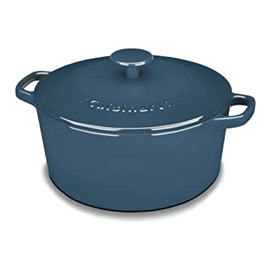 Cuisinart CI650-25BG Chef's Classic Enameled Cast Iron 5-Quart Round Covered Casserole, Provencial Blue