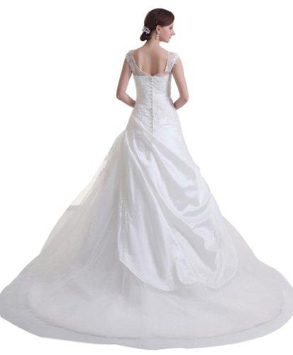 capped Kapelle BRIDE aermel elegante Schleppe Prinzessin GEORGE Weiß Brautkleid formelle Perlstickerei gtPT0qx