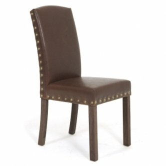 Zocalo Furniture Toscana Brown Leather Studded Dining Chair OCO62(Pair)