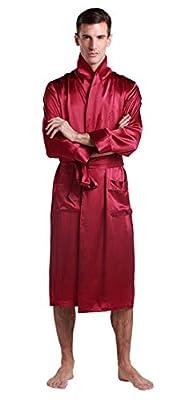 LILYSILK Men's Silk Robe Long Tea Length Lapel Collar 22 Momme Pure Silk