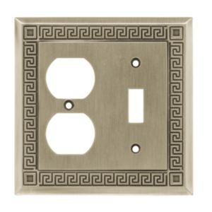 Greek Key Single Switch/Duplex Wall Plate Finish: Brushed Satin Pewter Pewter Finish Single