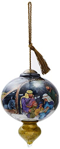 Ne'Qwa Art Hand Painted Blown Glass O Come Let Us Adore Him Ornament, Nativity ()