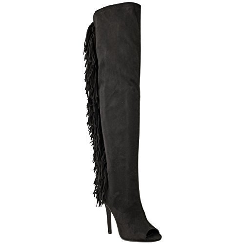 Damen NEU Overknee hoch schenkelhoch Stiletto Troddel Boho Reißverschluss Stiefel offen Peeptoe Schuhe Größe schwarz Kunstwildleder