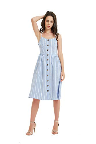 Tronjori Womens Summer Button Front Spaghetti Strap Backless Stripe Swing Midi Dress with Pocket(XS,Blue) (Button Strap Jumper)