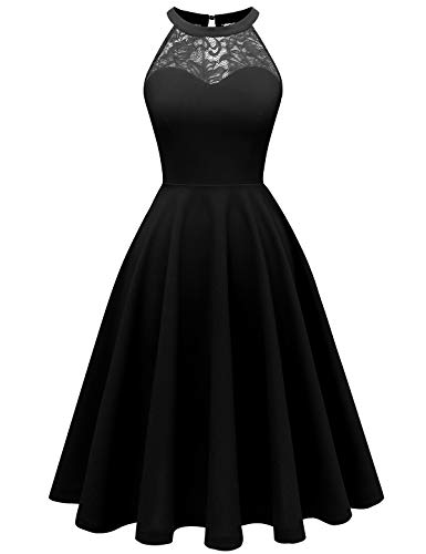 Bbonlinedress Women's Halter Lace Bridesmaid Dress Short Prom Party Cocktail Swing Dress Black ()