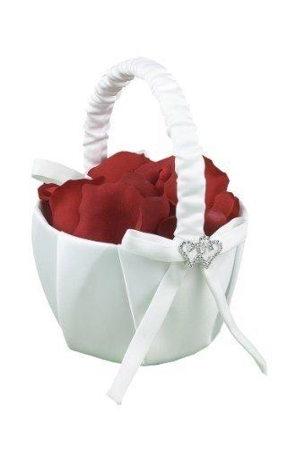 Hortense B. Hewitt Wedding Accessories With All My Heart Flower Girl Basket, White