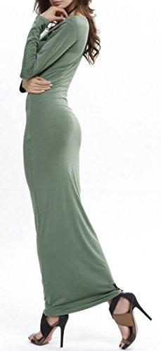 Cruiize Femmes Col Rond Manches Longues Occasionnels Amincissent Robe Maxi D'hiver Vert
