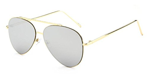 GAMT Metal Frame Aviator Sunglasses Classical Trend Reflective Frog Mirror White - Reflective Trend Sunglasses