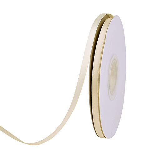 Ribest 1/4 inch 50 Yards Solid Double Face Satin Ribbon Per Roll for DIY Hair Accessories Scrapbooking Gift Packaging Party Decoration Wedding Flowers Ivory