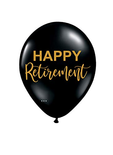 Happy Retirement Balloons - Set of 3 - Black and Gold ()