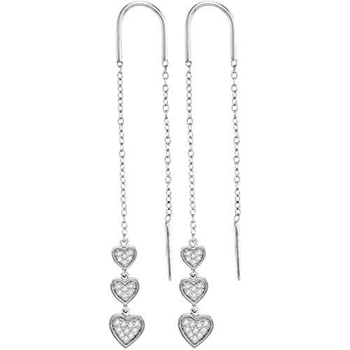 - Jewel Tie Solid 10k White Gold Round Diamond Triple Dangling Heart Threader Earrings (1/5 Cttw.)