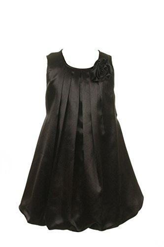 Kids Dream Satin Bubble Rosette Flower Girl Easter Dress - Black 8 (Neck Layered Dress Bubble)