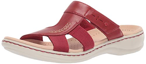 CLARKS Women's Leisa Emily Sandal, red Leather/Textile Combo, 065 W US