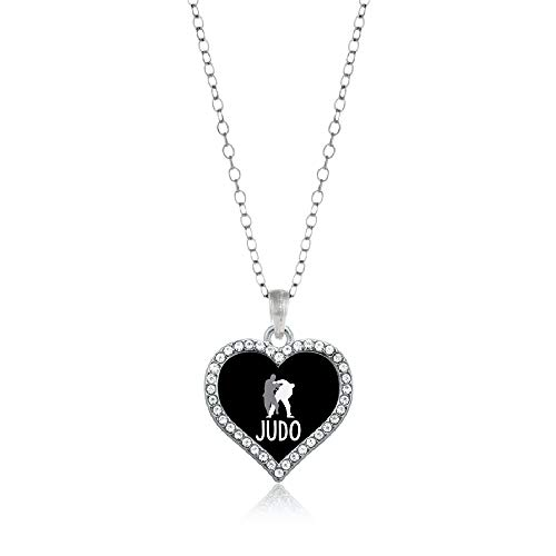 (Inspired Silver - Judo Charm Necklace for Women - Silver Open Heart Charm 18 Inch Necklace with Cubic Zirconia Jewelry )