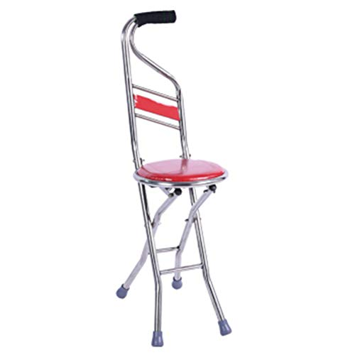 MSQL Folding Canes Seat Walking Stick Height Adjustment 330 Lbs Capacity Combo Chairs Stool Four-Legged Backrest ()