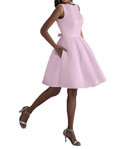 Con Ritorno Rosa Donne Casa Colore Da A Il Amore Tasca Vestito Promenade Collo Alto Delle Nuziali Vestito Raso Di 6TF4xqCWC