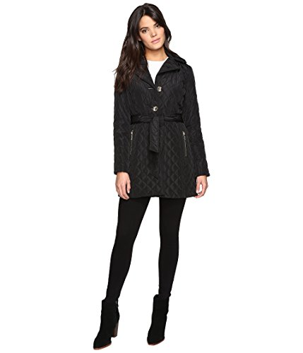 MICHAEL Michael Kors Missy Long Belted Quilt M422034T Black Women's Coat