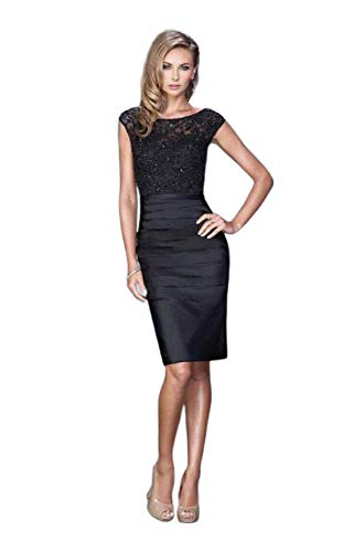 (La Femme Embroidered Lace Cocktail Dress 21633 Black)
