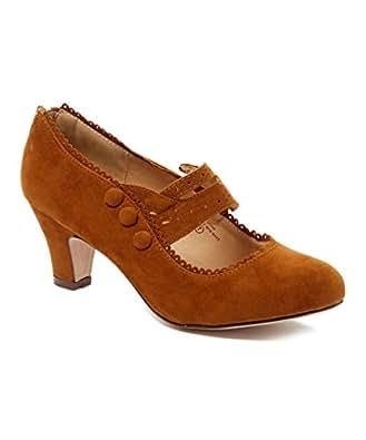 V-Luxury Womens 36-MINA4 Closed Toe Mary Jane High Heel Shoes (6 M US, Tan Suede)