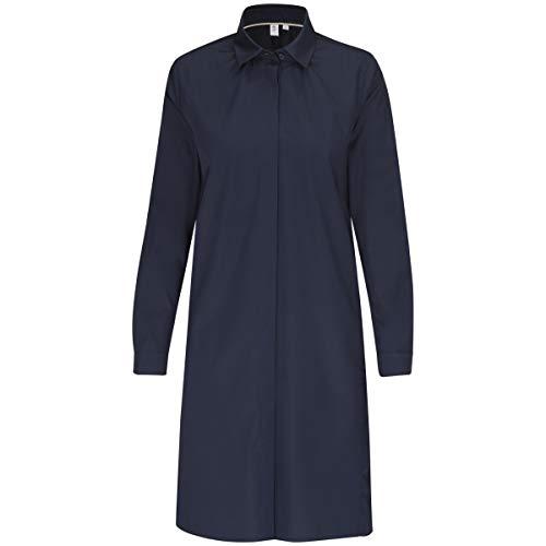 Blouse Uni Mit Femme Bleu Hemdblusenkragen 19 Dunkelblau Langarm Blusenkleid Fit Seidensticker Regular a0x4UwR