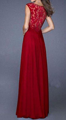 Coolred-femmes Sexy Coutures Solides Voir À Travers Robe Maxi En Dentelle Rouge Du Soir