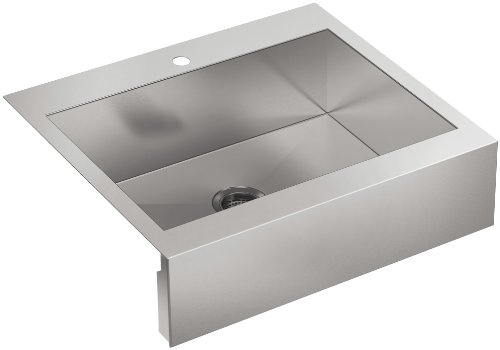 Bowl Kohler (Kohler 3935-1-NA Top-Mount Single-Bowl Stainless steel Kitchen Sink with Tall Apron For 30 inch Cabinet)