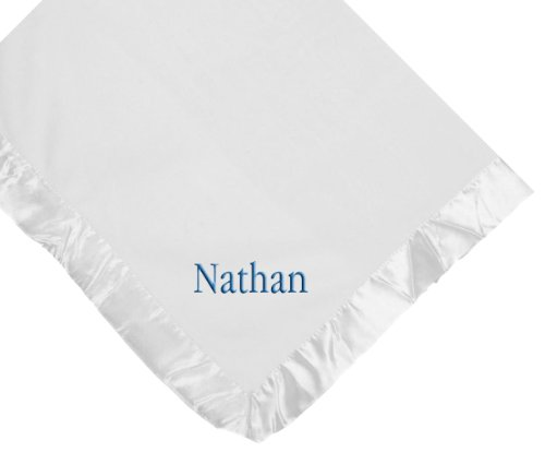 (Custom Embroidered Monogrammed Boy Name White Fleece Personalized Baby Blanket)