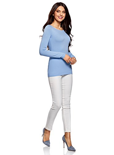 oodji Collection Mujer Camiseta de Manga Larga (Pack de 2) Azul (7001N)