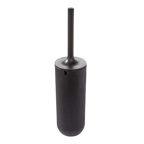 iDesign Toilet Bowl Brush and Holder Set, Toilet Cleaning Set for Bathroom - Matte Black (Brush Black Toilet)