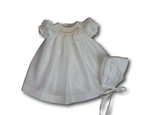Suma Ivory Shantung Smocked Baby Dress with Bonnet, Christening Gown, Baptism Dress (24 Months)