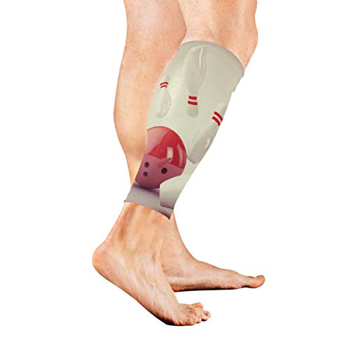 (Red Bowling Ball with Flame Calf Compression Sleeve Leg Compression Socks for Shin Splint Calf Pain Relief Men Women and Runners Improves Circulation)