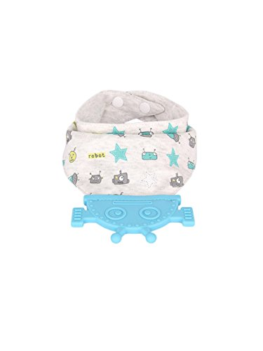 Cardboard Castle Ltd Baby Bandana Drool Teether Bib, Organic Cotton, BPA Free, Food Safe, with Attached Robot Teething Toy (Blue)