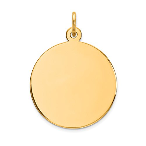 14k Yellow Gold .013 Gauge Circular Engravable Disc Pendant Charm Necklace Round Plain Fine Jewelry For Women Gift Set